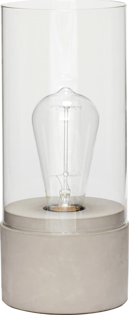 På billedet ser du variationen Bordlampe, Borghildr fra brandet Hübsch i en størrelse Ø: 10 cm. H: 29 cm. i farven Beton/Glas