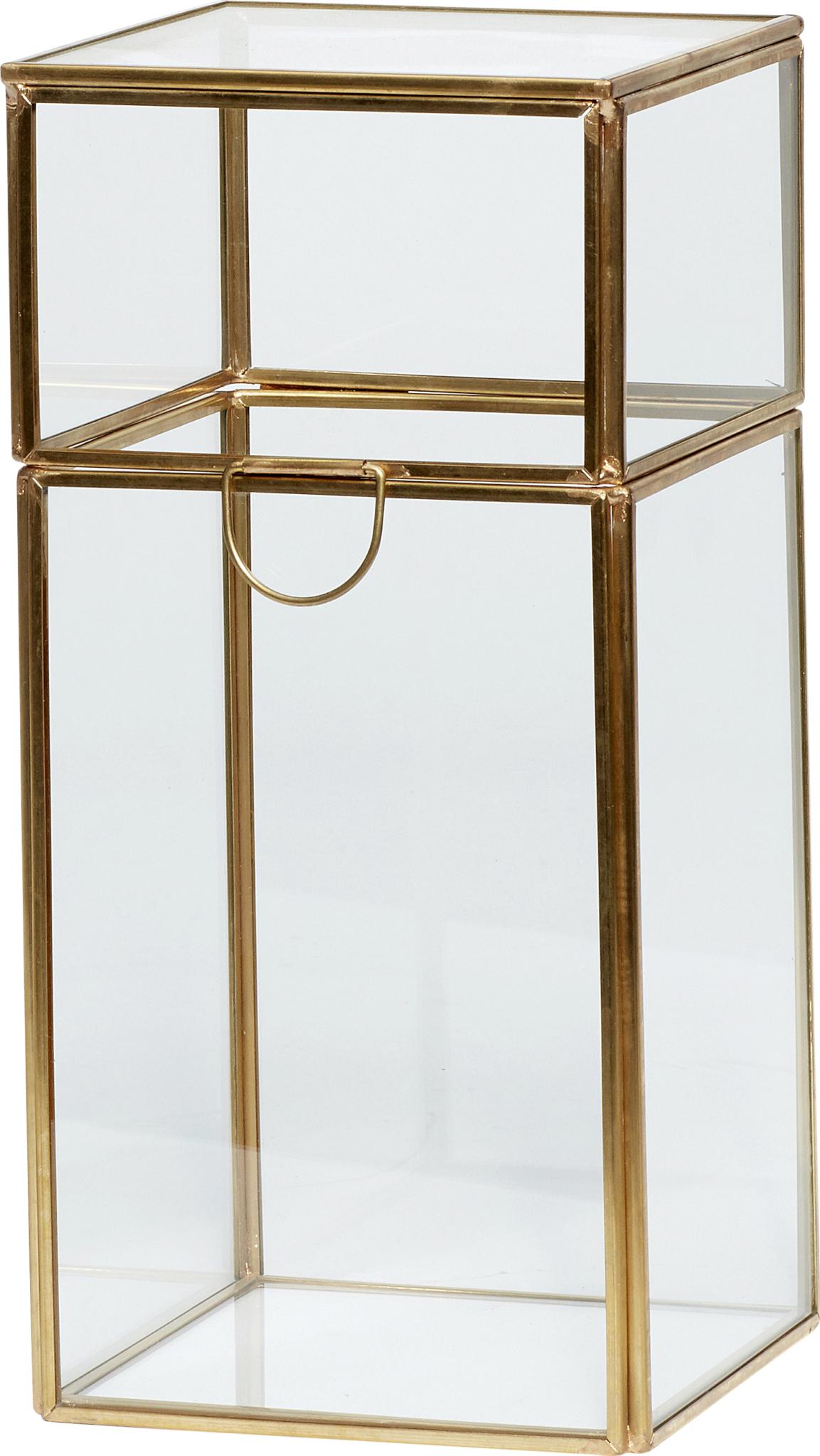 På billedet ser du variationen Glasboks, Signy fra brandet Hübsch i en størrelse H: 26 cm. B: 12 cm. L: 12 cm. i farven Messing/Klar