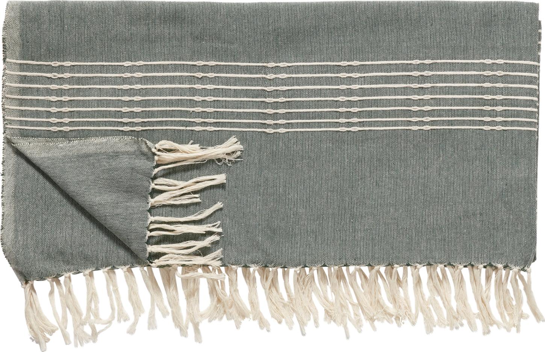 På billedet ser du variationen Plaid, m/striber, Wigmund fra brandet Hübsch i en størrelse B: 140 cm. L: 200 cm. i farven Off-white/Grøn