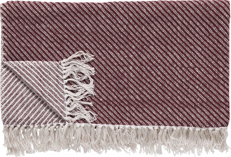 På billedet ser du variationen Plaid, Wigberht fra brandet Hübsch i en størrelse B: 140 cm. L: 200 cm. i farven Off-white/Rød