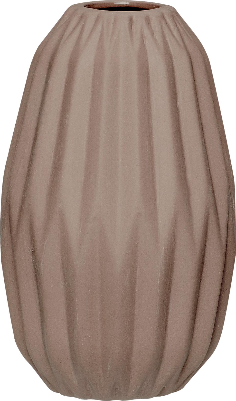 På billedet ser du variationen Vase, m/riller, Ya fra brandet Hübsch i en størrelse Ø: 9 cm. H: 14 cm. i farven Brun