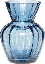 På billedet ser du variationen Vase, m/riller, Su fra brandet Hübsch i en størrelse Ø: 9 cm. H: 12 cm. i farven Blå