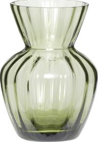 På billedet ser du variationen Vase, m/riller, Su fra brandet Hübsch i en størrelse Ø: 9 cm. H: 12 cm. i farven Grøn