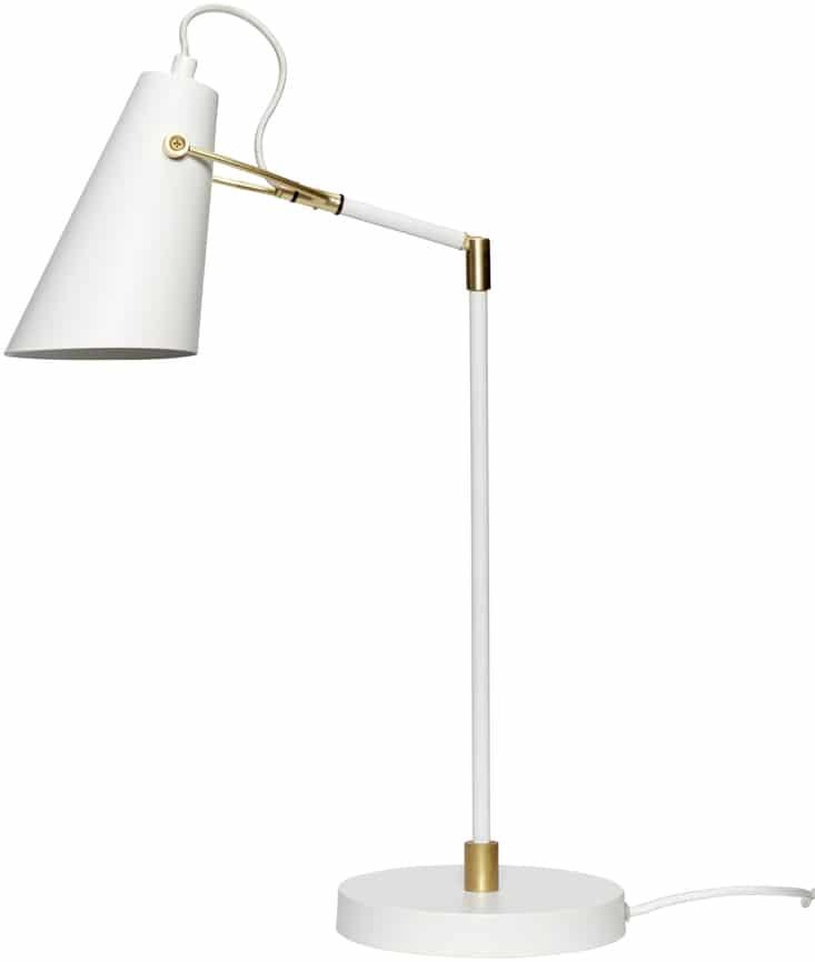 På billedet ser du variationen Bordlampe, Ex fra brandet Hübsch i en størrelse D: 18 cm. H: 54 cm. i farven Hvid/Messing