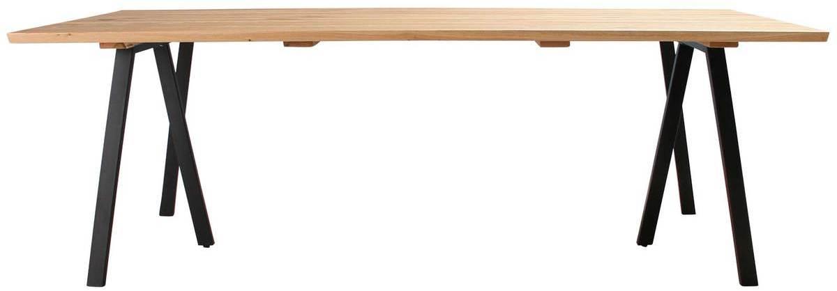 På billedet ser du variationen Plankebord, Trend V, 3 feet base fra brandet Preform i en størrelse H: 74 cm. B: 95 cm. L: 220 cm. i farven Natur/Sort