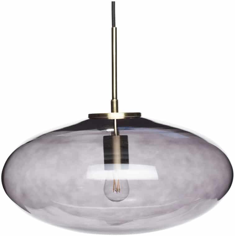 På billedet ser du variationen Lampe, Elegance fra brandet Hübsch i en størrelse D: 40 cm. H: 32 cm. i farven Røgfarvet/Messing