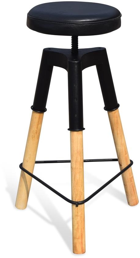 På billedet ser du variationen Barstol med lædersæder, Boi fra brandet OBUZI i en størrelse D: 46 cm. H: 70 cm. i farven Lys Natur/Sort