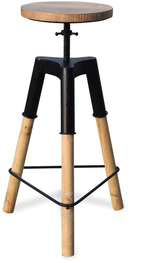 Image of   Barstol med patineret træsæde, Boi