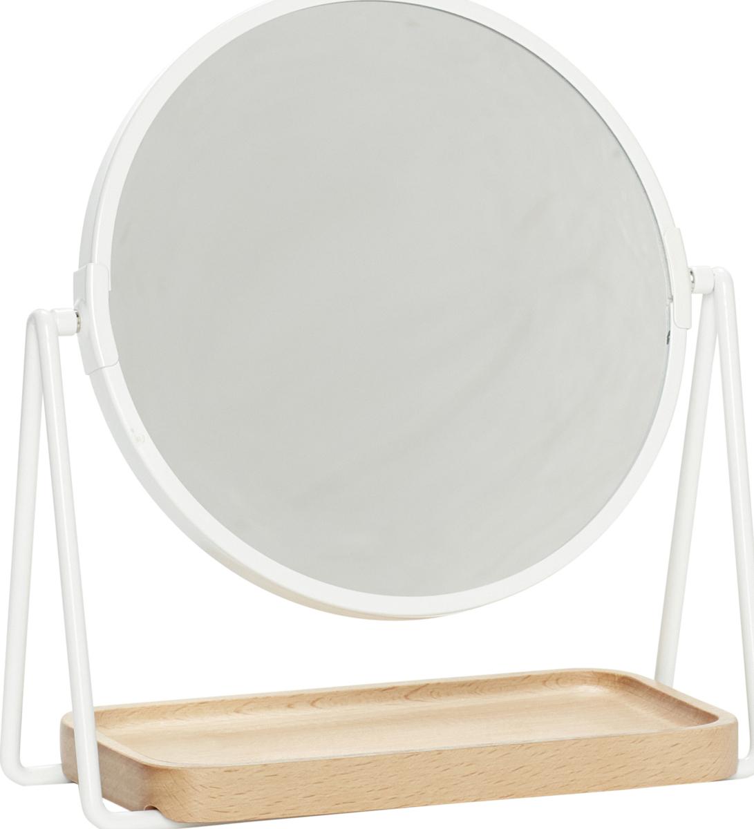 På billedet ser du variationen Bordspejl m/bakke, Round fra brandet Hübsch i en størrelse H: 25 cm. B: 21 cm. L: 10 cm. i farven Hvid
