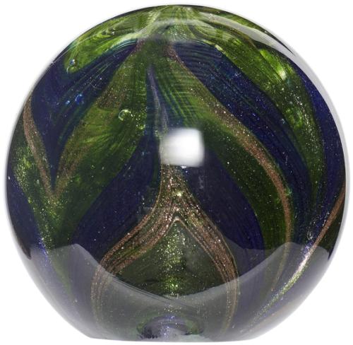 På billedet ser du variationen Brevpresser, Woop fra brandet Hübsch i en størrelse D: 10 cm. i farven Blå/Grøn/Guld