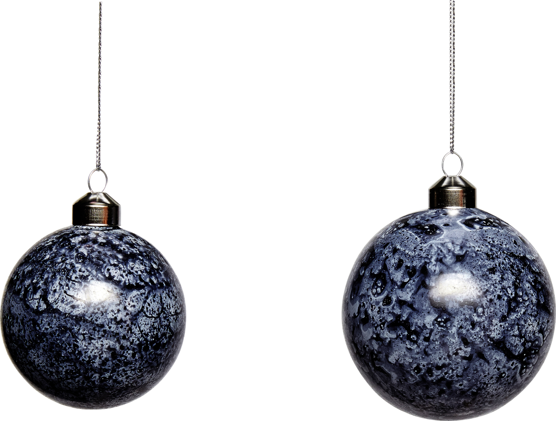 På billedet ser du variationen Julekugle, Hann fra brandet Hübsch i en størrelse Sæt á 2 stk. i farven Blå/Hvid