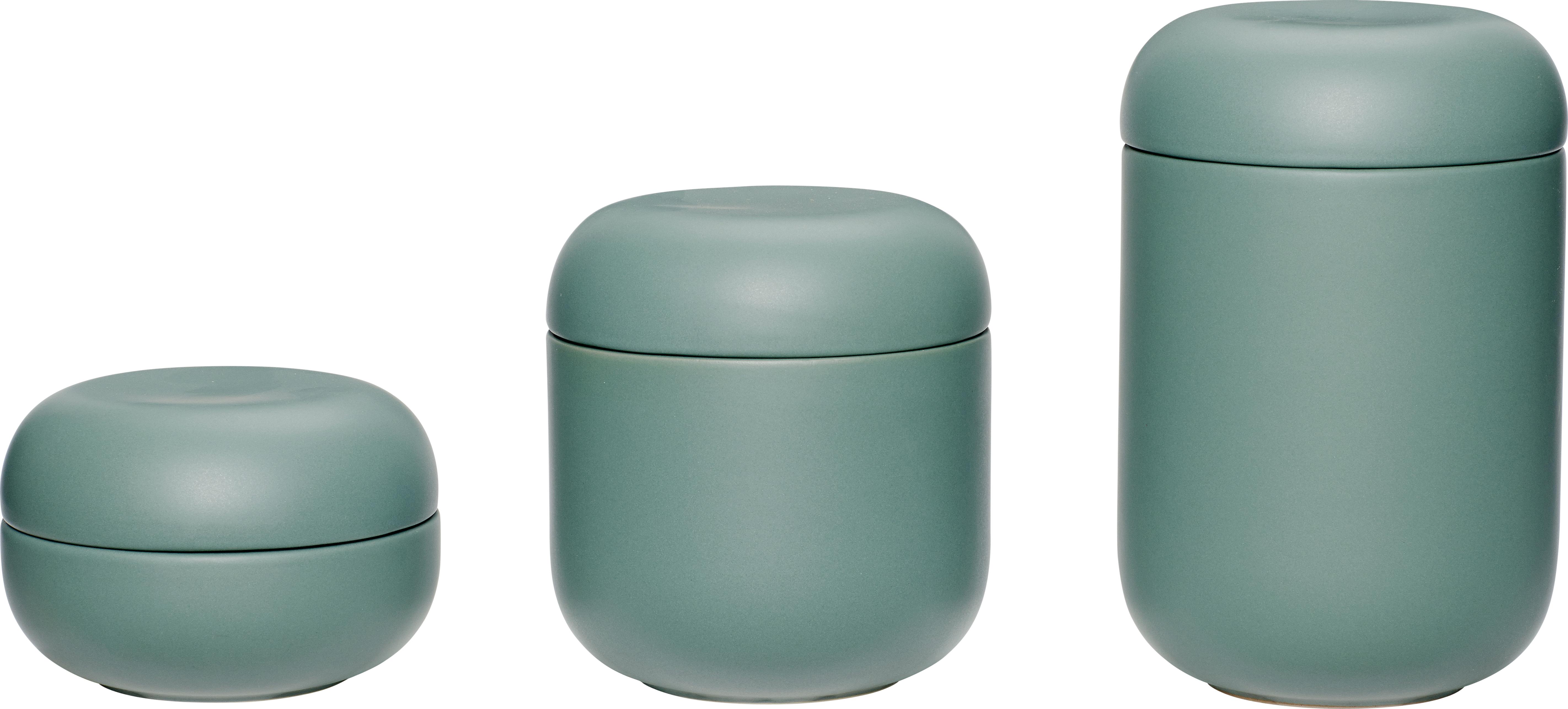 På billedet ser du Dåse m/låg, Keramik fra brandet Hübsch i en størrelse Sæt á 3 stk. i farven Grøn
