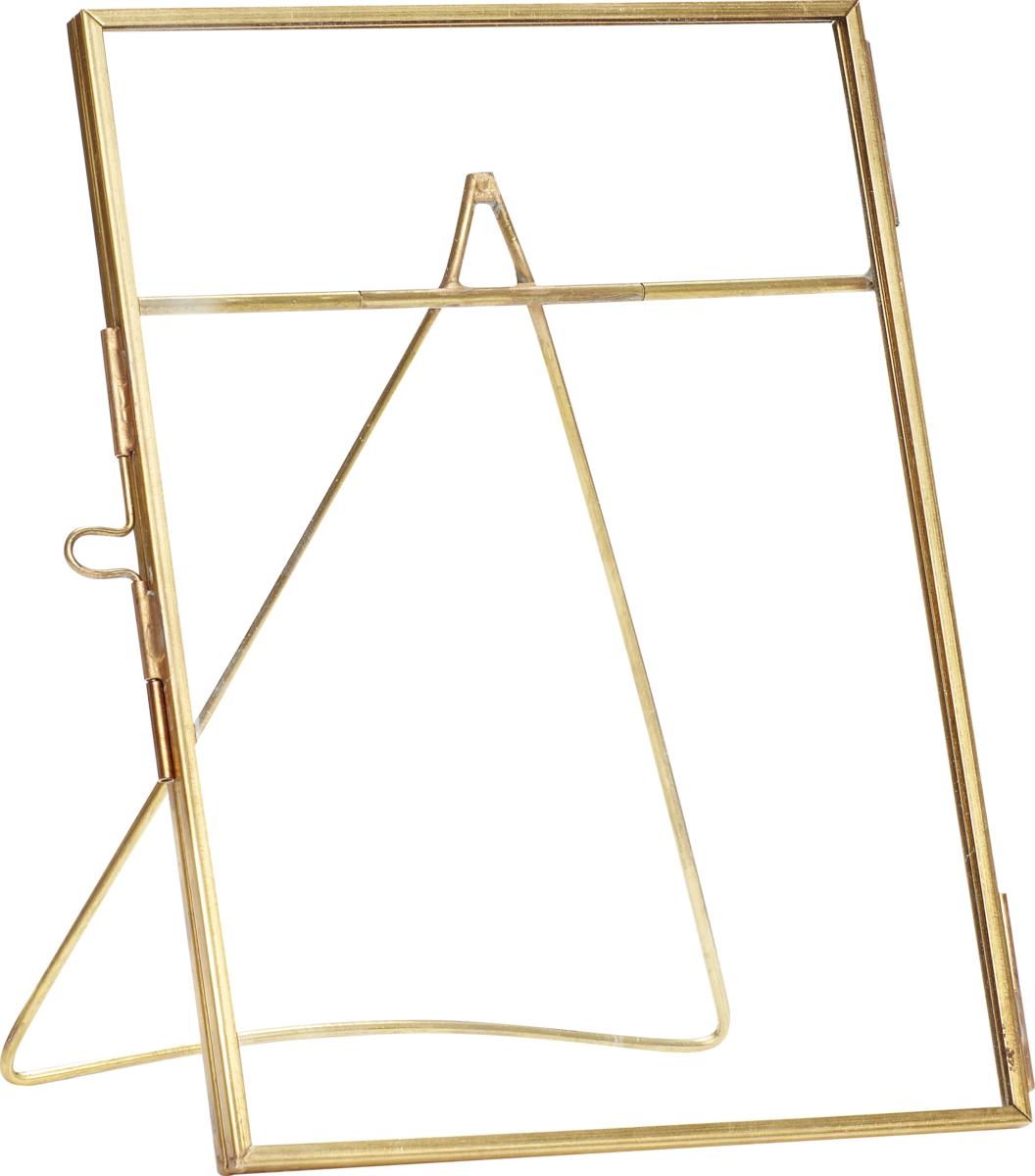 På billedet ser du variationen Fotoramme, m/fod, u/foto, Ninian fra brandet Hübsch i en størrelse H: 18 cm. B: 13 cm. i farven Messing