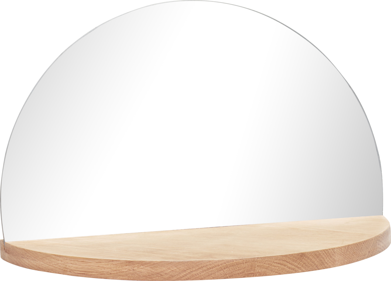 På billedet ser du variationen Hylde m/spejl, Round fra brandet Hübsch i en størrelse H: 25 cm. B: 40 cm. L: 20 cm. i farven Natur
