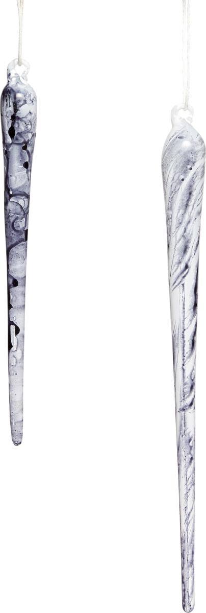På billedet ser du variationen Istap, Wilky fra brandet Hübsch i en størrelse Sæt á 2 stk. i farven Sort/Hvid