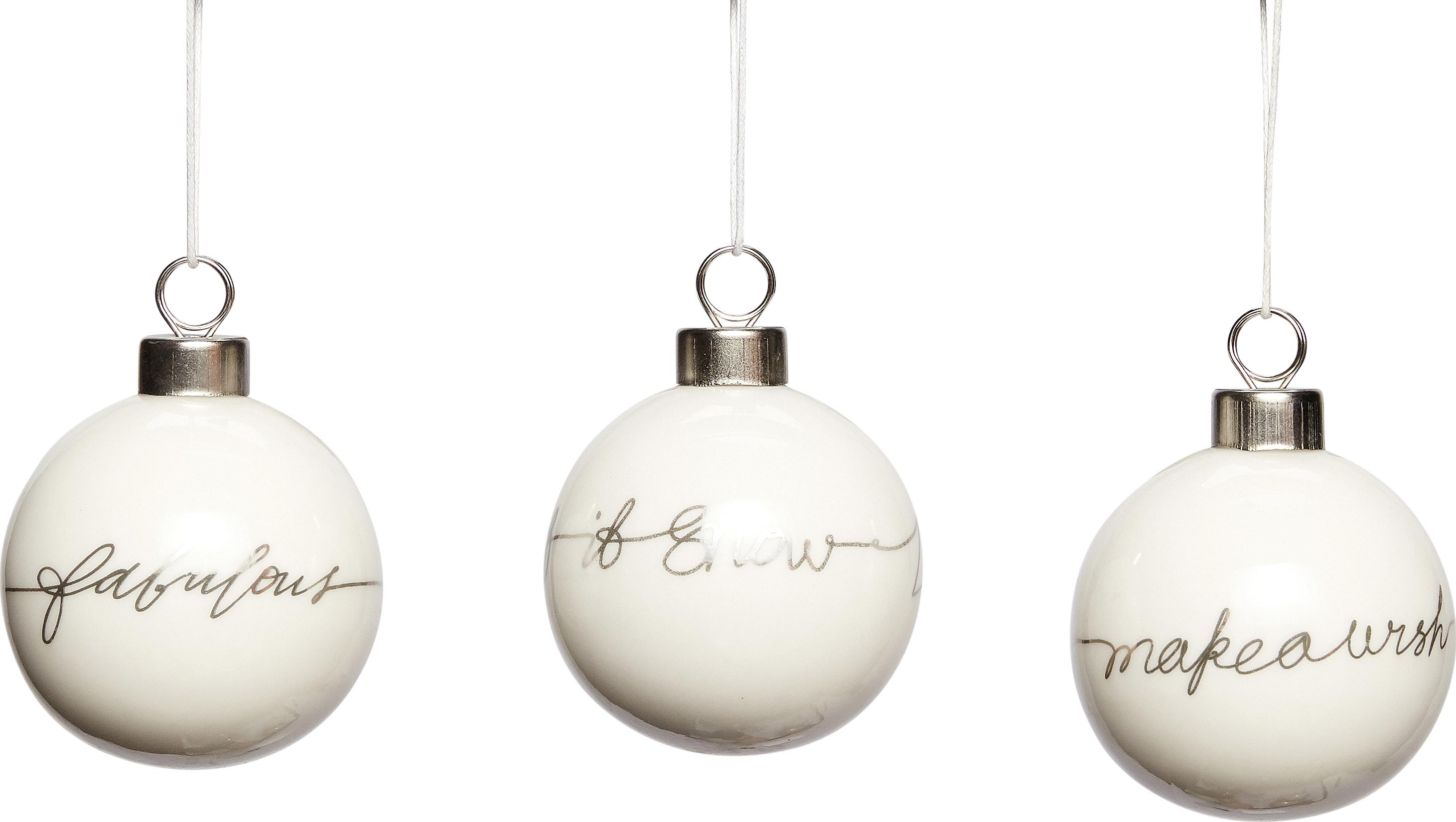 På billedet ser du variationen Julekugle, Wybert fra brandet Hübsch i en størrelse Ø: 6 cm. i farven Hvid/Sølv