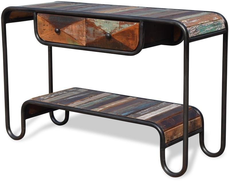 På billedet ser du variationen Konsolbord i genbrugstræ, Christiania Hip fra brandet OBUZI i en størrelse H: 80 cm. B: 120 cm. L: 40 cm. i farven Multi