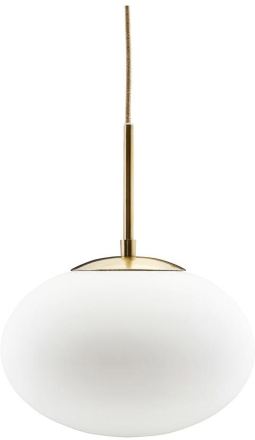 På billedet ser du variationen Opal, Lampe fra brandet House Doctor i en størrelse D: 30/20 cm. x H: 35 cm. i farven Messing/Hvid