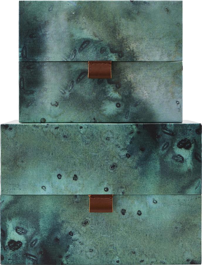 På billedet ser du variationen Opbevaringsbokse, Earth fra brandet House Doctor i en størrelse Sæt á 2 stk. i farven Turkis