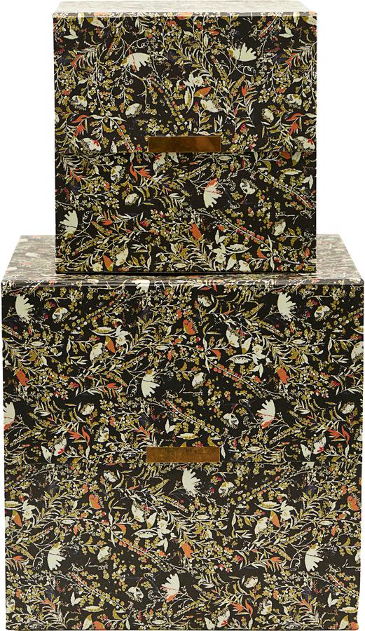 På billedet ser du variationen Opbevaringsbokse, Floral, Sæt af 2 str. fra brandet House Doctor i en størrelse Sæt á 2 stk. i farven Sort
