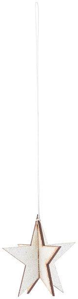 På billedet ser du variationen Ornament, Glitter star fra brandet House Doctor i en størrelse H: 5 cm. i farven Hvid