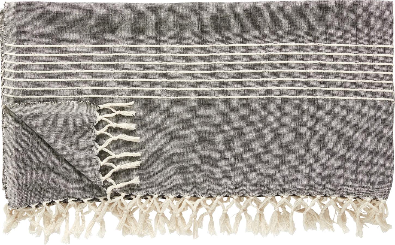 På billedet ser du variationen Plaid, m/striber, Wigmund fra brandet Hübsch i en størrelse B: 140 cm. L: 200 cm. i farven Off-white/Mørkegrå