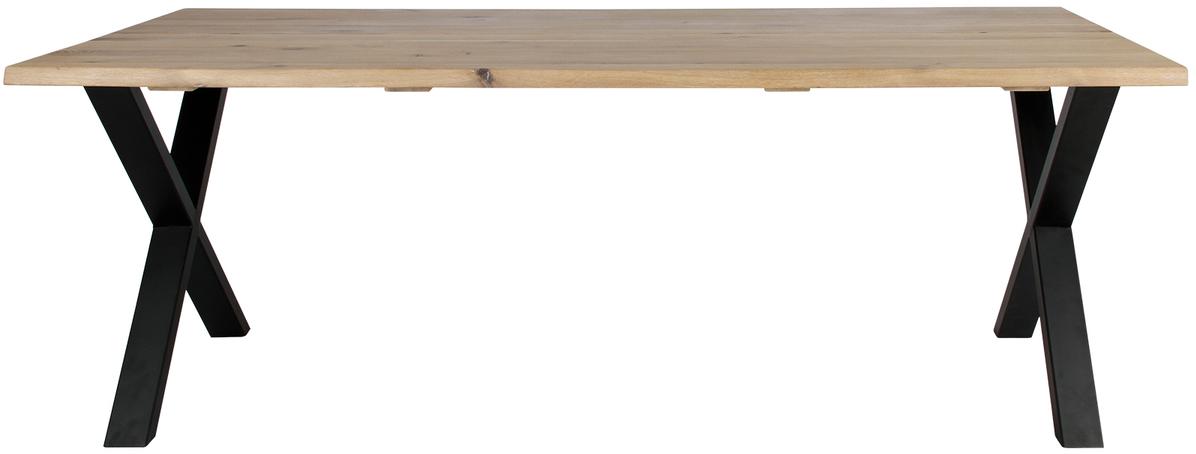 På billedet ser du variationen Plankebord, Curve wave, X base fra brandet Preform i en størrelse H: 74 cm. B: 95 cm. L: 240 cm. i farven Lys Natur/Sort