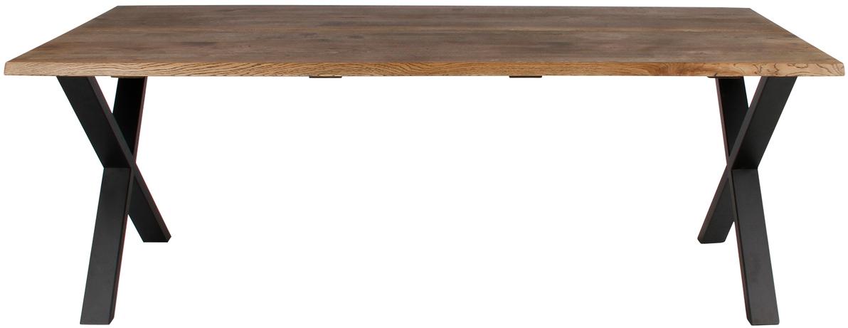 På billedet ser du variationen Plankebord, Curve wave, X base fra brandet Preform i en størrelse H: 74 cm. B: 95 cm. L: 180 cm. i farven Mørk Natur/Sort