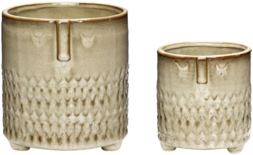 På billedet ser du variationen Potte, Topia fra brandet Hübsch i en størrelse Sæt á 2 stk. i farven Beige