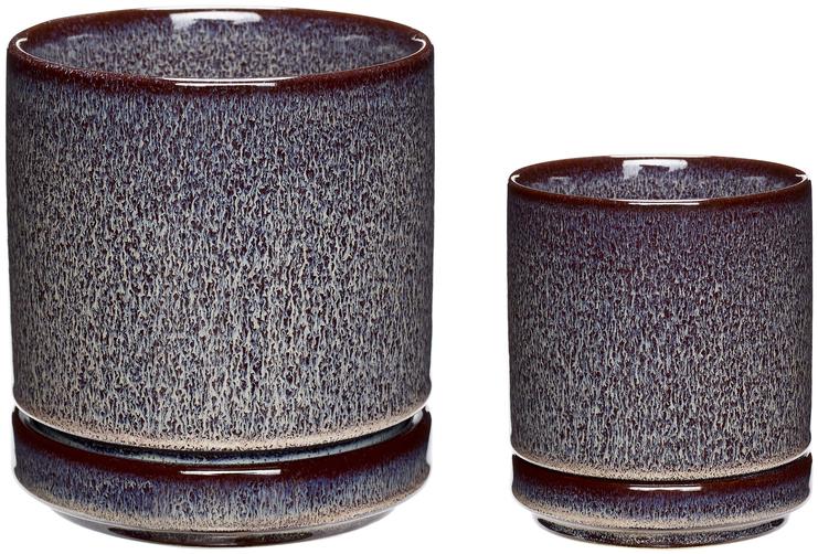 På billedet ser du variationen Potte, Codes fra brandet Hübsch i en størrelse Sæt á 2 stk. i farven Blomme