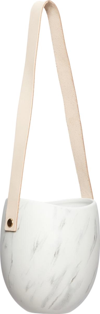 På billedet ser du variationen Potte, m/læderrem, Enkelt fra brandet Hübsch i en størrelse Ø: 12 cm. H: 35 cm. i farven Hvid/Grå