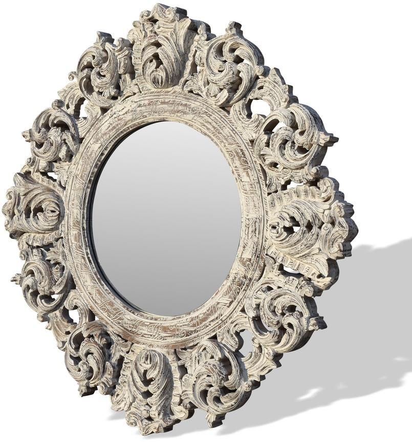 På billedet ser du variationen Rundt vægspejl, Classique fra brandet OBUZI i en størrelse H: 150 cm. B: 150 cm. L: 5 cm. i farven Hvid