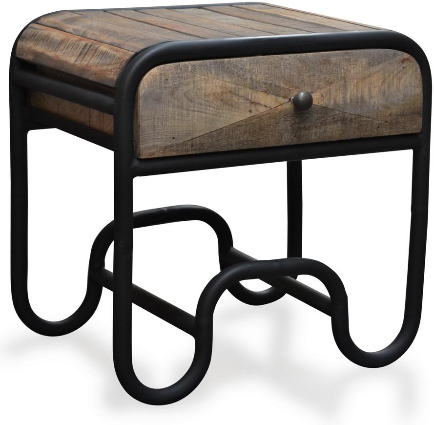 På billedet ser du variationen Sengebord i mangotræ, Christiania Raw fra brandet OBUZI i en størrelse H: 50 cm. B: 50 cm. L: 40 cm. i farven Mørk Natur/Sort