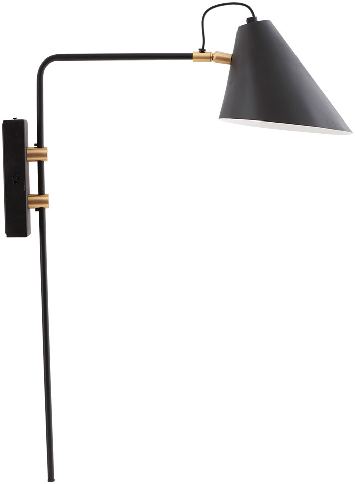 På billedet ser du variationen Club, Væglampe, Enkelt fra brandet House Doctor i en størrelse D: 18-20 cm. x H: 54 cm. x L: 22 cm. i farven Sort
