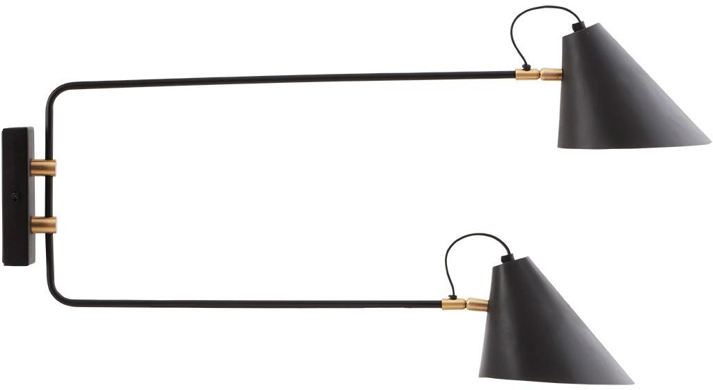 På billedet ser du Club, Væglampe, Dobbelt fra brandet House Doctor i en størrelse D: 18-20 cm. x H: 28 cm. x L:35-55 cm. i farven Sort