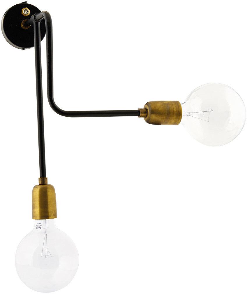 På billedet ser du variationen Molecular, Væglampe, Dobbelt fra brandet House Doctor i en størrelse 18 x 30 cm. i farven Sort/Messing