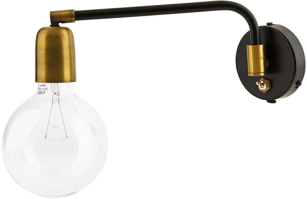 På billedet ser du variationen Molecular, Væglampe, Enkelt fra brandet House Doctor i en størrelse L: 22 cm. i farven Sort/Messing