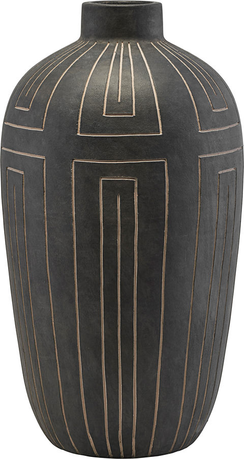 På billedet ser du variationen Vase, Aljeco fra brandet House Doctor i en størrelse D: 31 cm. H: 55 cm. i farven Grå/Sort