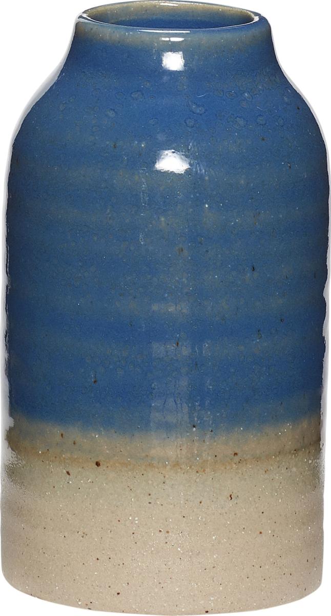 På billedet ser du variationen Vase, Yazhu fra brandet Hübsch i en størrelse Ø: 7 cm. H: 12 cm. i farven Blå/Sand