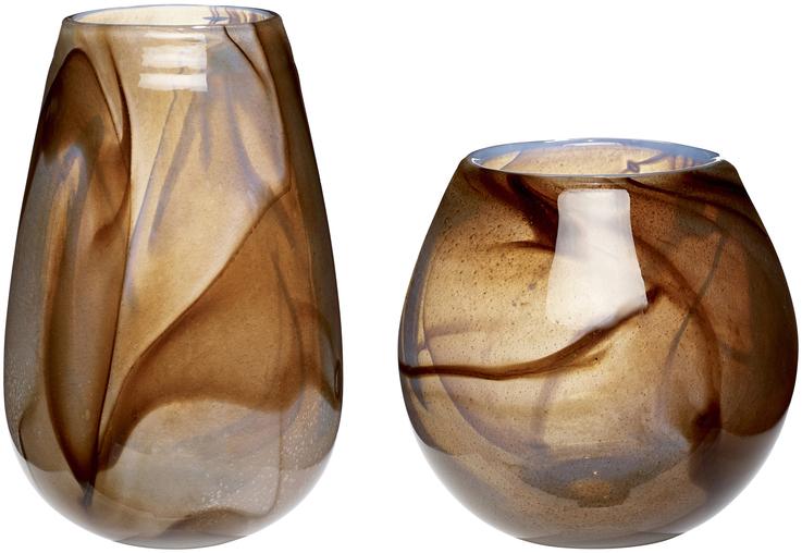 På billedet ser du variationen Vase, Equal fra brandet Hübsch i en størrelse Sæt á 2 stk. i farven Brun/Hvid