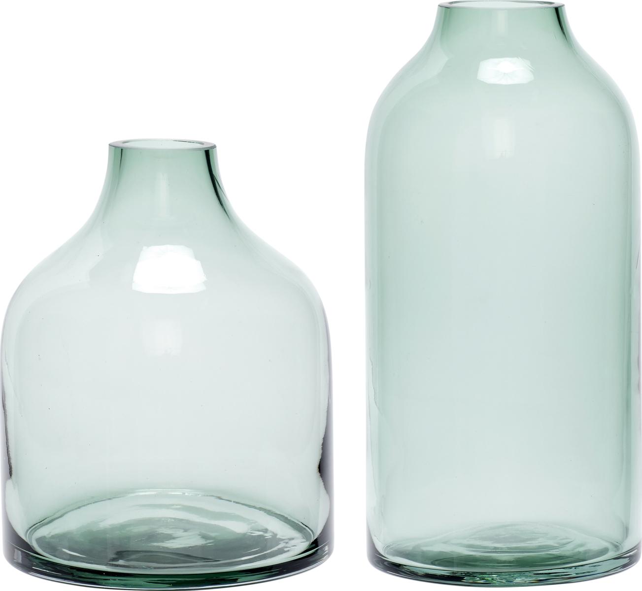 På billedet ser du variationen Vase, Fen fra brandet Hübsch i en størrelse Sæt á 2 stk. i farven Grøn