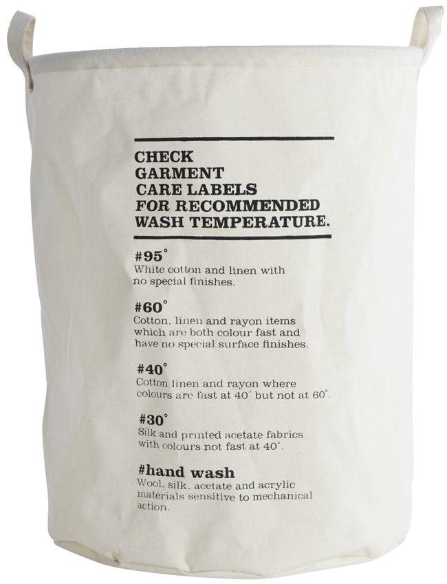 På billedet ser du variationen Vasketøjspose, Wash instructions fra brandet House Doctor i en størrelse D: 40 cm. x H: 50 cm. i farven Hvid