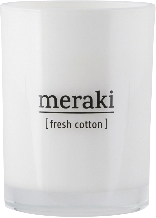 På billedet ser du variationen Duftlys, Fresh Cotton fra brandet Meraki i en størrelse Ø: 8 cm. H: 10,5 cm. i farven Hvid