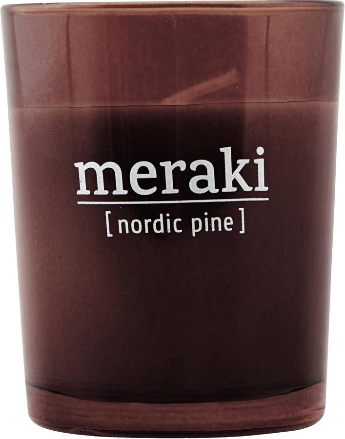 På billedet ser du variationen Duftlys, Nordic Pine fra brandet Meraki i en størrelse Ø: 55 cm. H: 6,7 cm. i farven Brændt henna