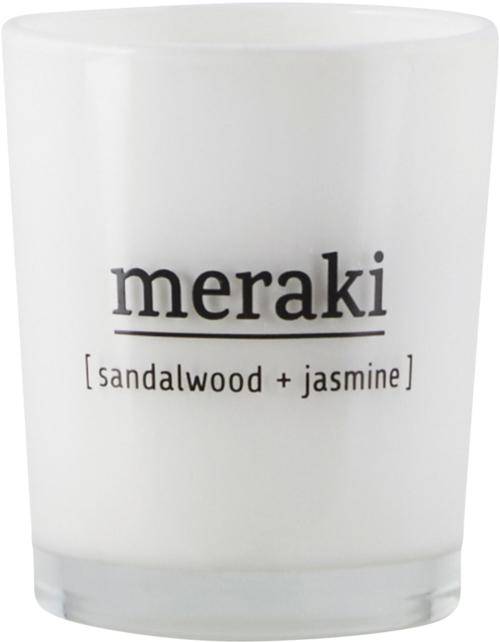 På billedet ser du variationen Duftlys, Sandalwood & Jasmine fra brandet Meraki i en størrelse Ø: 5,5 cm. H: 6,7 cm. i farven Hvid