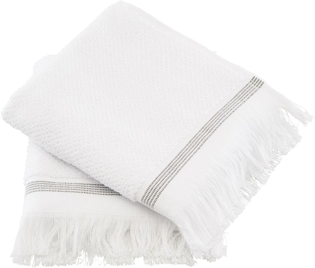På billedet ser du variationen Håndklæde, Hvid med grå striber fra brandet Meraki i en størrelse B: 40 cm. L: 60 cm. i farven Hvid