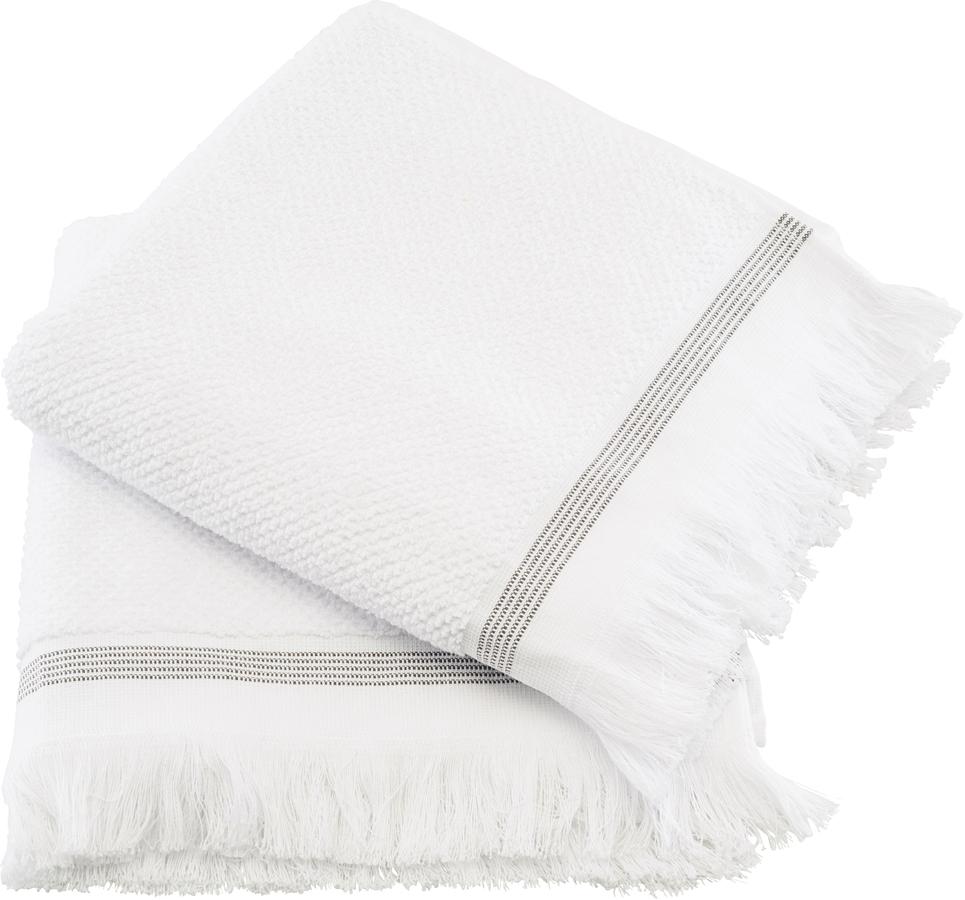 På billedet ser du variationen Håndklæde, Hvid med grå striber fra brandet Meraki i en størrelse L: 100 cm. i farven Hvid