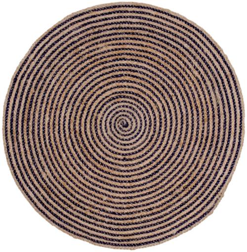På billedet ser du variationen Bombay, Rundt tæppe fra brandet Nordby i en størrelse H: 1 cm. B: 90 cm. L: 90 cm. i farven Natur/Mørkeblå