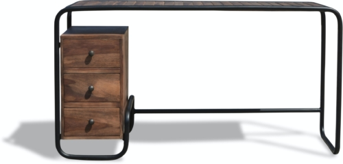 På billedet ser du variationen Skrivebord, Christiania Dark fra brandet OBUZI i en størrelse H: 74 cm. B: 140 cm. L: 45 cm. i farven Mørk Natur/Sort