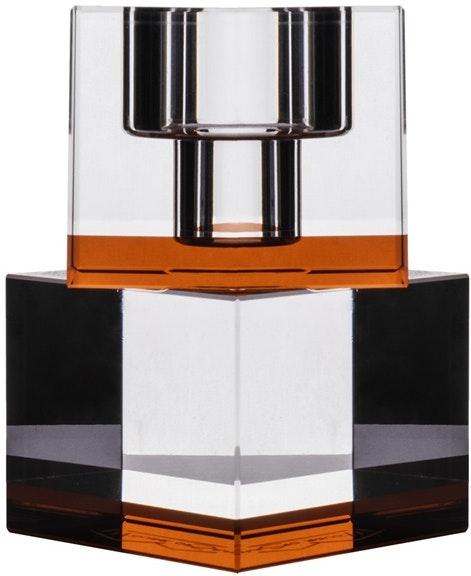 På billedet ser du variationen Lyng, Lysestage, Glas fra brandet House of Sander i en størrelse H: 10 cm. B: 6 cm. L: 6 cm. i farven Orange